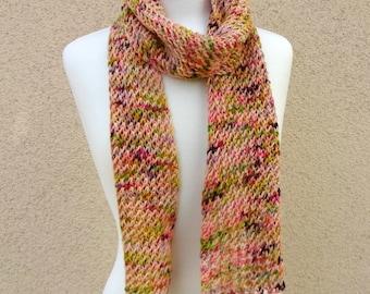 Knit Scarf, Knit Net Scarf, Pink Green Scarf, Multi Color Scarf, Confetti Net Scarf