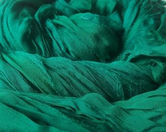 Jade Chiffon - 2 skeins Jade Green Silk Sari Ribbon Yarn, Chiffon/Georgette, 200g approx 55yd / 50m, variable width 1-2.5 inch / 25-65mm avg