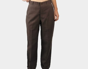 "Wool trousers / vintage late 1940s-1950s cuffed slacks / straight leg button fly pants / 26"" Small"