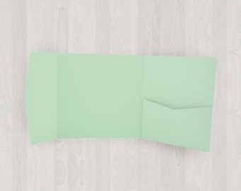 10 Square Pocket Enclosures - Mint & Light Green - DIY Invitations - Invitation Enclosures for Weddings and Other Events