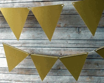 Large Triangle Pennant Banner - Gold