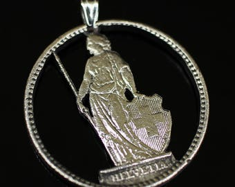 Switzerland Pendant & Necklace Swiss Coin Hand Cut Helvetia Shield 27.4mm 1968yr