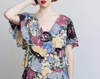 1980s Holly Harp Tiered Dress // Size Medium