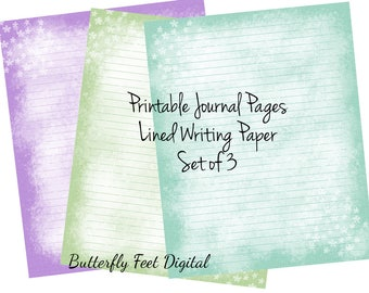 Printable Journal Pages, Lined Paper, Printable Stationery, Abstract Texture, Flowers, Instant Digital Download