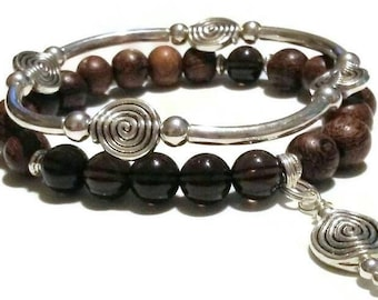 Smoky Quartz wood bead spiral of life charm bracelet set