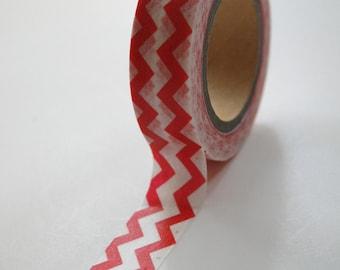 Washi Tape - 15mm - Red Chevron on White - Deco Paper Tape No. 504