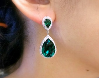 wedding bridal bridesmaid party prom gift christmas earrings swarovski emerald green crystal rhinestone teardrop cubic zirconia post