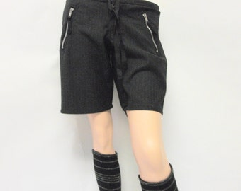 SALE Pinstriped Charcoal Flannel Shorts