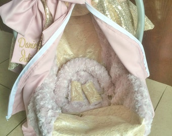 Custom Car Seat Canopy and Car Seat Cover in Gold Sequin, Lace & Dusty Rose Pink - Gift Set