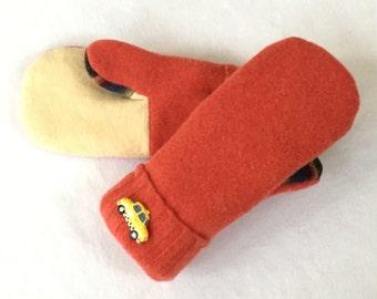 Sweater Mittens, Recycled Sweater Mittens, Women's Mittens, Fleece Lined Mittens, Gift, Winter Mittens, Orange Wool Mittens, Felted Wool,