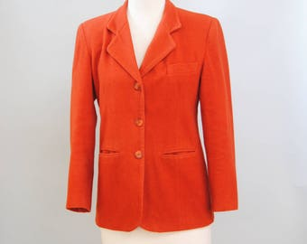Vintage Blazer 70s Orange Blazer Jacket Minimalist Burnt Orange Coat S M