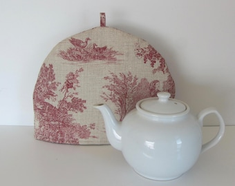 French Toile de Jouy Scenery fabric tea cozy, Linen Cotton fabric cozy, Lined teapot warmer, French Toile de Jouy print fabric