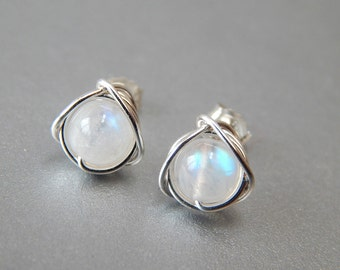 Rainbow Moonstone Stud Earrings, Genuine Moonstone Earrings, June Birthstone, Birthday Gift, Moonstone Jewellery, Wife Gift