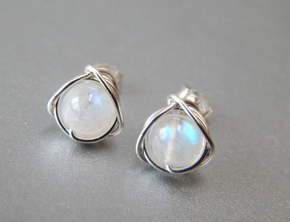 gold stud or moonstone stone earrings moon platinum blue silver large