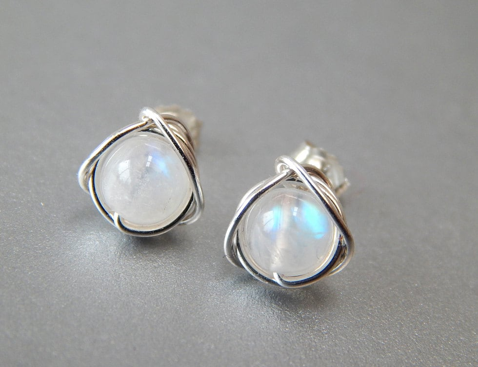 Well-liked Rainbow Moonstone Stud Earrings Genuine Moonstone Earrings RS46