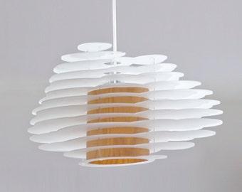 Nuage No. 6 - contura acrylic glas and wood veneer pendant light