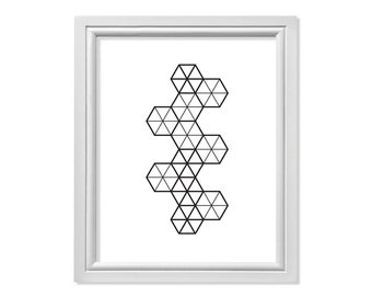 Scandinavian Print, Minimalist Print, Geometric Print, Hexagon Print, Abstract Print, Modern Wall Art, Simple Print, Hexagon Triangle Print