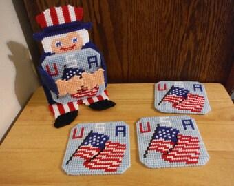 Plastic Canvas Coaster Set, Uncle Sam, USA Coasters, American Flag, Flag Coasters, Handmade Coasters, Needlepoint Item, Kitchen Coasters