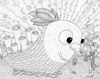 A3 Original Ink Drawing:  Creature with woman