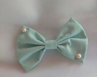 Powder (Sax) Blue & Pink Pearl Sweet Lolita/Fairy-Kei Small Hairbow