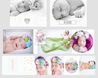 3x3 Mini Accordion Album Template - Newborn Album Template for Photographers