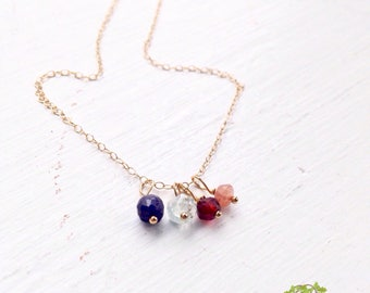 Gold family tree necklace / personalized mothers day necklace / family birthstone necklace / mothers birthstone necklace / grandma necklace