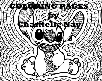 Coloring page, Stitch, disney art, adult coloring picture, digital download, advanced coloring, printable design, zentangle