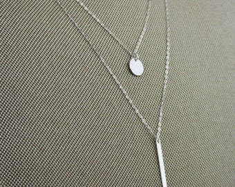 Layering Vertical Bar/Layered Necklace with Bar/Tiny Dot Necklace/Skinny Bar/Layered Necklace Set/Tiny Bar Necklace/Vertical Bar Layered