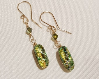 Chartreuse Glass Earrings with Gold Filled Wires - Cyberlily