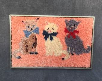 70's Kitty Cat Kitten Latch Hook Rug Home Decor Wall Hanging- Completed, Framed, Excellent Condition