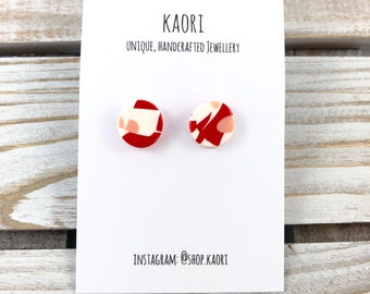 Stud earrings - Handcrafted polymer clay stud earrings in white, red and peach