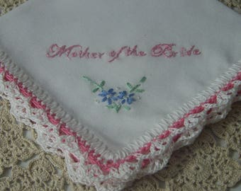 Mother of the Bride Handkerchief, Custom Embroidered Hanky, Hanky for Mom, Hand Crochet, Hand Embroidered, Wedding Party Gift, Ready to ship