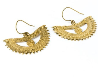 Tribal Brass Crescent Earrings hanging handmade, Brass, Ethnic Style , Tribal Earrings, Gift boxed, Free UK post BG12