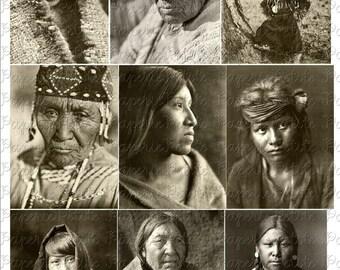 Native American Portraits Digital Download Collage Sheet C