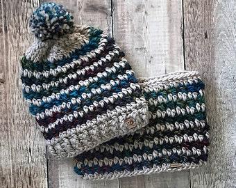 Women's Slouchy Beanie and Cowl Set ~ Crochet Winter Beanie and Cowl Set ~ Slouchy Beanie with PomPom