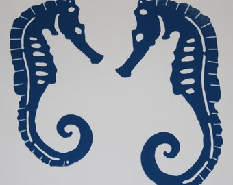 Pair of Blue Seahorses - Solid Steel - Made in USA