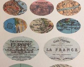 Vintage World Map Stickers, Set of 13