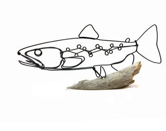Brown Trout Wire Sculpture, Fish Wire Art, Minimal Wire Design, 568801082