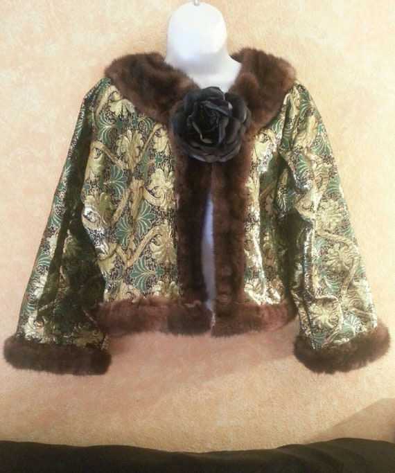 Metallic Gypsy And Order Bolero Party Gold Bridal Club Green Mink Jacket Shrug Sexy Bohemian Custom Emerald Genuine RY04WnWf