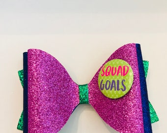 "X-Large ""Squad Goals"" Royal Purple, Pink and Green Fine Glitter Fabric Hair Bow on an alligator clip Babies, Girls, Toddlers, Women"