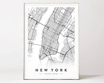New York city map fine art print wall art Manhattan New york