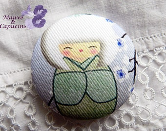 Button printed fabric Japanese doll, 18 mm / 0.70 in