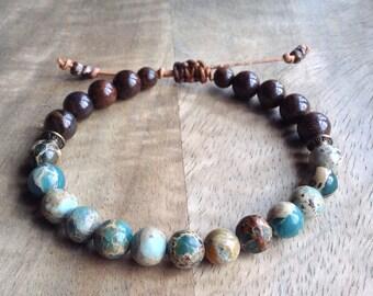 16cm wrist, Serpentine bohemian bracelet boho chic bracelet earthy bracelet womens jewelry gift for her boho bracelet boho chic jewelry