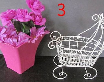 Set of 3 Antique Wire Baby Carriages  - Great for Baby Shower or Christening Decorations
