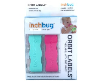 Personalized Labels for baby bottles and sippy cups by InchBug  Lion/Monkey and Frog/Castle (Cool Mint and Flamingo Pink 2-PACK)