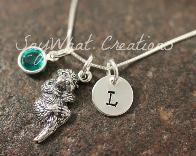 Sterling Silver Mini Initial Hand Stamped Sea Otter Charm Necklace