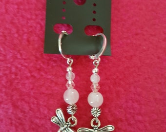 Rose Quartz and Crystal Dragonfly Earrings