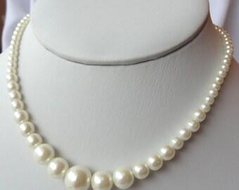 Swarovski Crystal Pearl Round Necklace, Flower Girl Necklace, Junior Bridesmaids,  Bridesmaids Gift Necklace, Simple Pearl Necklace