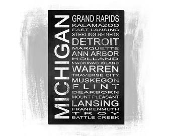 Michigan State 1 Subway Sign Fine Art Print | Modern Chalkboard Typography