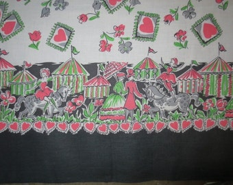 "SALE***1950's Border Print Fabric // Deadstock Yardage // Vintage Circus Border Print...35"" wide X 47"" long"
